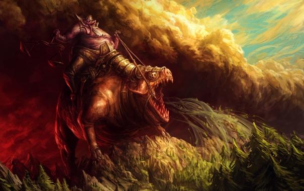 Фото обои лес, горы, всадник, чудовище, конец света