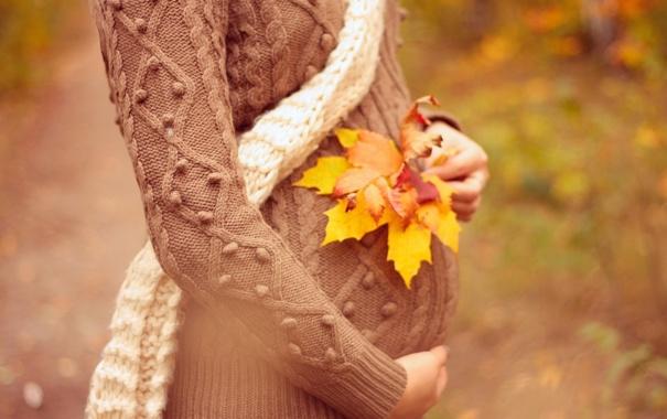 Фото обои осень, листья, девушка, шарф, свитер, беременность