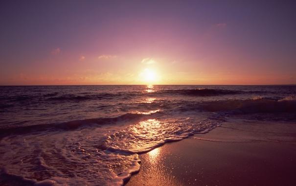 Фото обои песок, море, волны, пляж, пейзаж, закат, природа