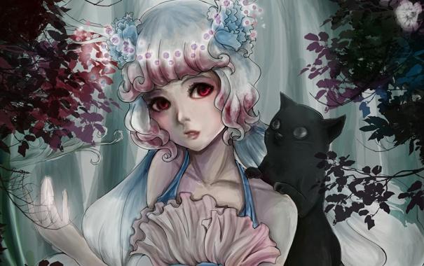 Фото обои лес, кот, деревья, цветы, чёрный, девочка