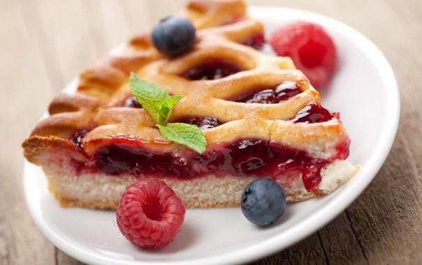 Фото обои мята, черника, начинка, пирог, выпечка, малина, ягоды