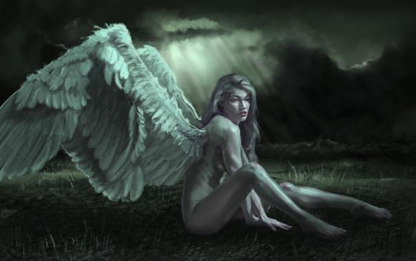 Фото обои небо, взгляд, девушка, тучи, фантастика, волосы, крылья