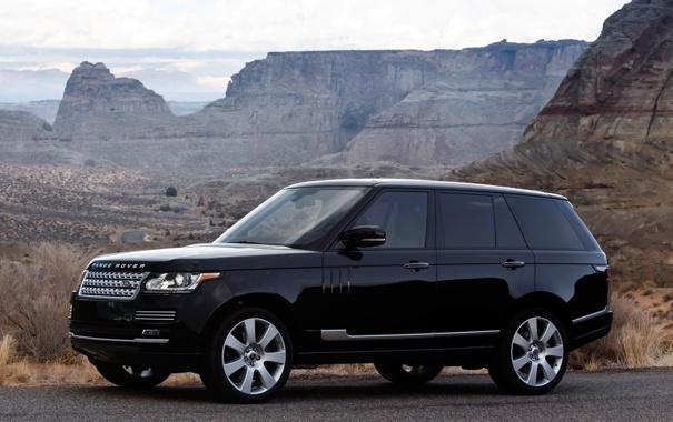 Фото обои горы, чёрный, Land Rover, Range Rover, передок, Ленд Ровер, Ренж Ровер