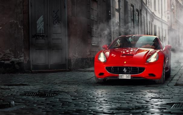 Фото обои брусчатка, Ferrari, red, переулок, феррари, красная, California