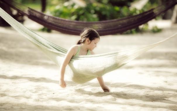 Фото обои лето, настроение, гамак, девочка