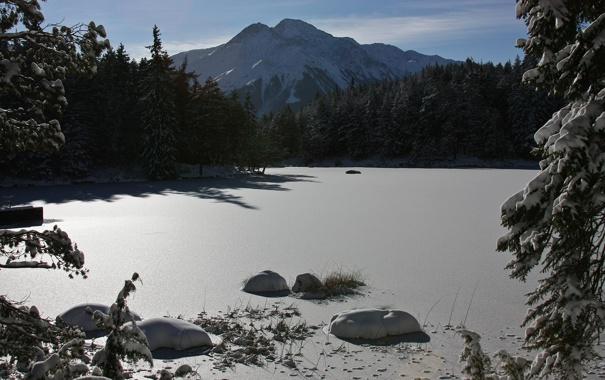 Фото обои зима, небо, вода, солнце, снег, деревья, горы