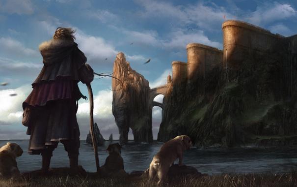 Фото обои море, собаки, облака, замок, посох, Путешественник
