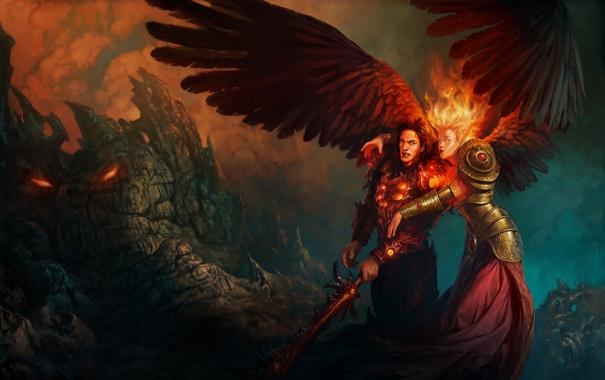 Фото обои девушка, скалы, огонь, крылья, меч, мужчина, Might & Magic Heroes 6