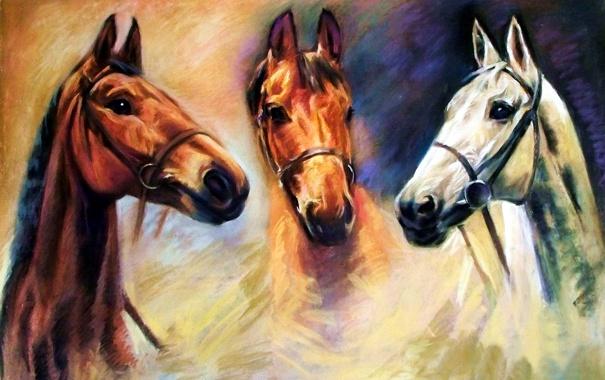 Фото обои глаза, три коня, живопись, животные, взгляд