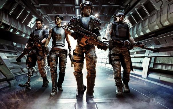 Фото обои оружие, дым, солдаты, броня, бойцы, морпехи, Aliens Colonial Marines