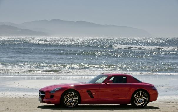 Фото обои море, пляж, солнце, красный, slr