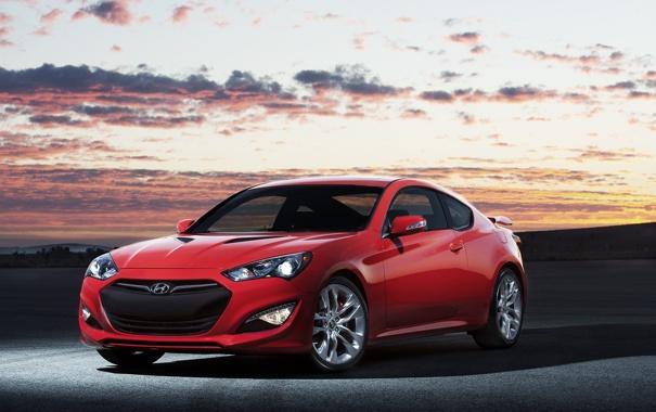 Фото обои купе, автомобиль, Hyundai, красная, Coupe, Genesis, хюндай