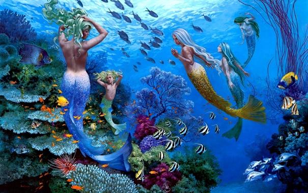 Фото обои рыбы, подводный мир, русалки, Wil Cormier