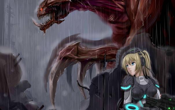 Фото обои девушка, оружие, дождь, костюм, starcraft, зерг