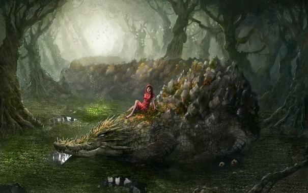 Фото обои лес, девушка, крокодил, джунгли, swamp thing