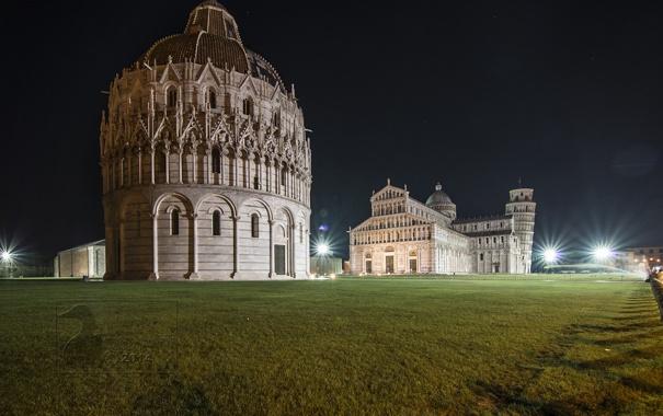 Фото обои небо, ночь, огни, башня, Италия, собор, Пиза