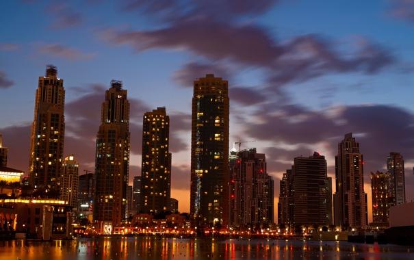Фото обои облака, огни, дома, небоскребы, вечер, Дубаи, сумерки