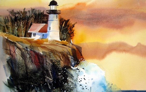 Фото обои пейзаж, маяк, картина
