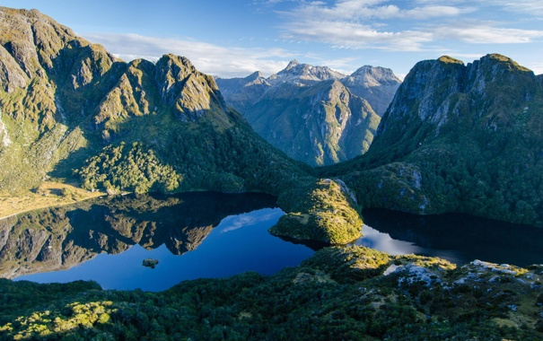 Фото обои лес, горы, природа, вид, озера, панорама