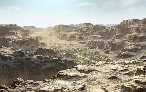 Фото обои небо, горы, город, пальмы, пустыня, долина, оазис