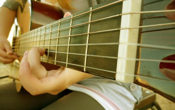 Фото обои музыка, гитара, струны, палец