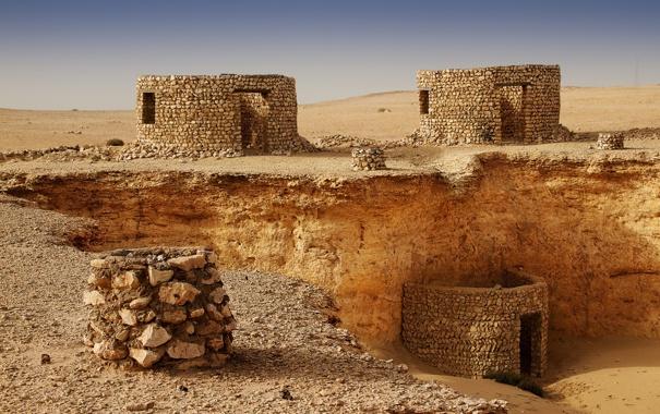 Фото обои песок, камни, здания, сооружения, руины, Qatar, Zekreet