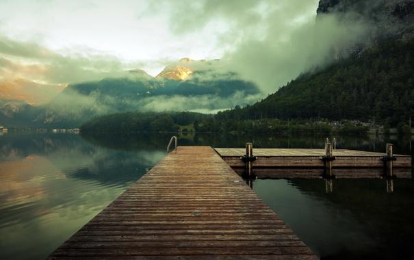 Фото обои пейзаж, горы, мост, туман, озеро