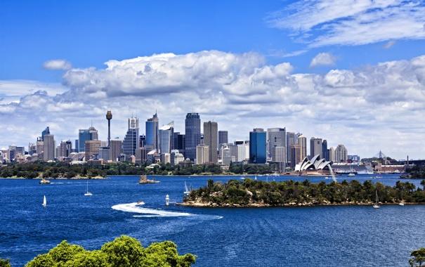Фото обои пейзаж, река, здания, лодки, Австралия, Сидней, катера