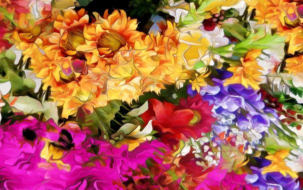 Фото обои линии, цветы, природа, рендеринг, краски, лепестки, сад