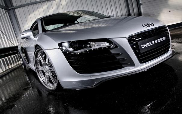 Фото обои Audi, фары, колеса, диски, мокрый асфальт, Wheelsandmore, Sporz