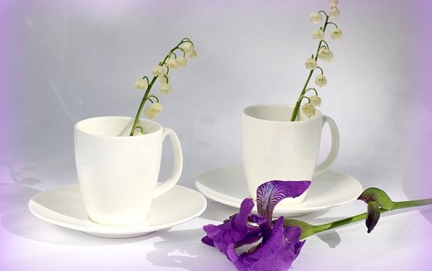Фото обои цветы, белое, чашки, колокольчики, ландыши, фарфор, ирис