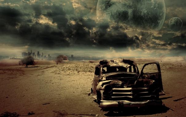 Фото обои машина, небо, цвета, пустыня, горизонт, ржавчина, картинка
