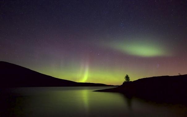 Фото обои звезды, ночь, природа, северное сияние