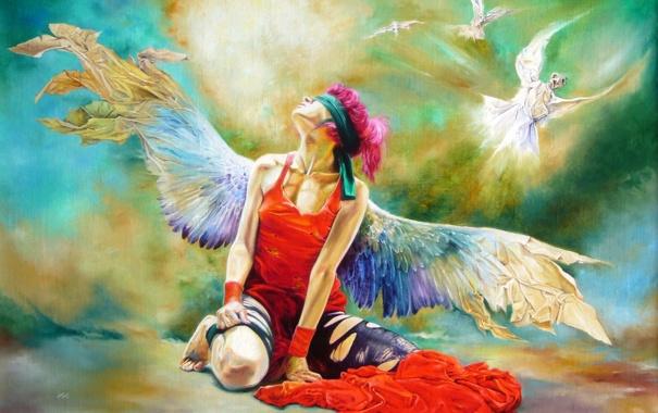 Фото обои девушка, крылья, ангел, Wlodzimierz Kuklinski