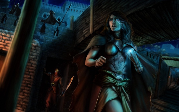 Фото обои девушка, ночь, замок, магия, арт