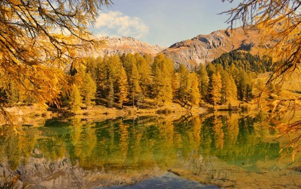 Фото обои осень, небо, деревья, горы, озеро
