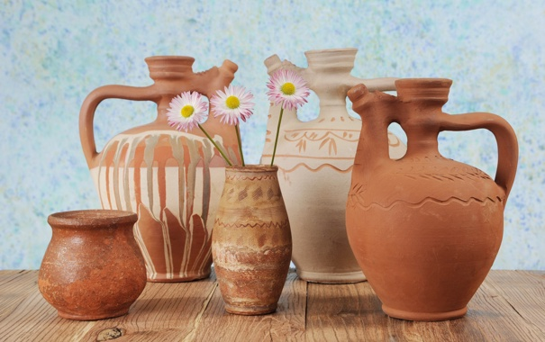 Фото обои цветы, стол, горшки, керамика