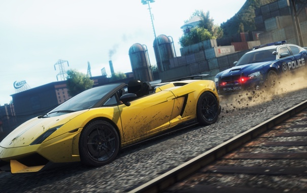 Фото обои город, гонка, погоня, need for speed most wanted 2, Dodge Charger Pursuit, Lamborghini Gallardo Spyder ...