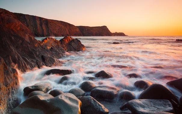 Фото обои море, природа, камни, скалы, потоки