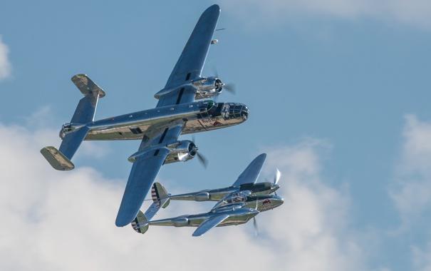 Фото обои полет, истребитель, бомбардировщик, Lightning, P-38, Mitchell, B-25