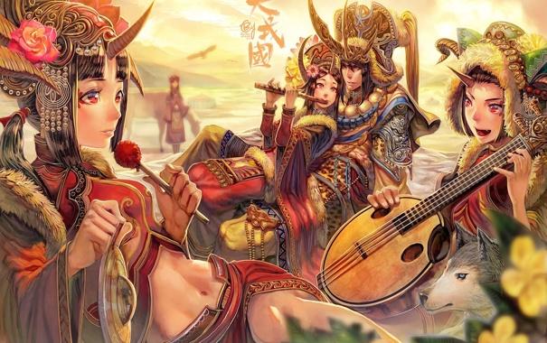 Фото обои девушки, волк, арт, наряд, рога, парни, музыкальный инструмент