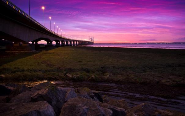 Фото обои дорога, небо, трава, закат, мост, огни, река