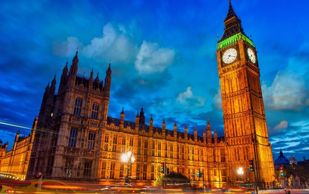 Фото обои England, небо, фонари, Великобритания, выдержка, Westminster Palace, тучи