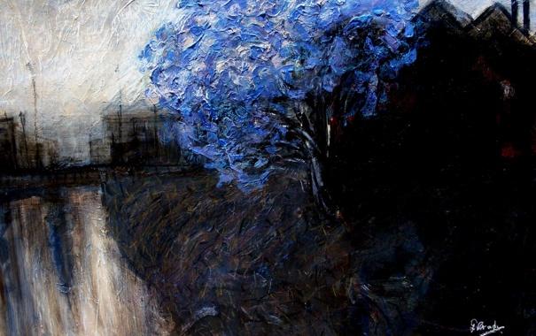 Фото обои пейзаж, дерево, картина, синее, маслом