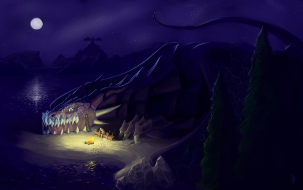 Озеро ночь костер