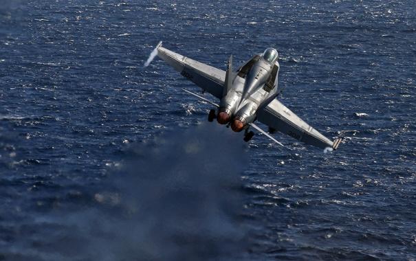 Фото обои море, истребитель, Super Hornet, F-18, палубный