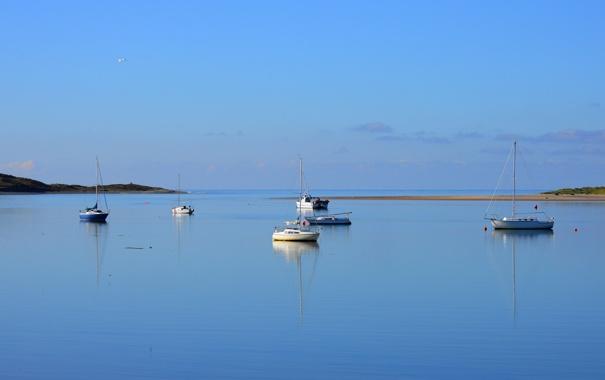 Фото обои море, небо, лодка, утро, яхта, гавань