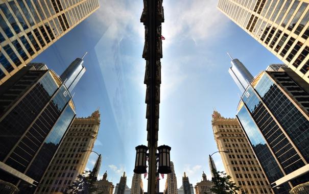 Фото обои город, отражение, небоскребы, Чикаго, США, штат Иллиноис