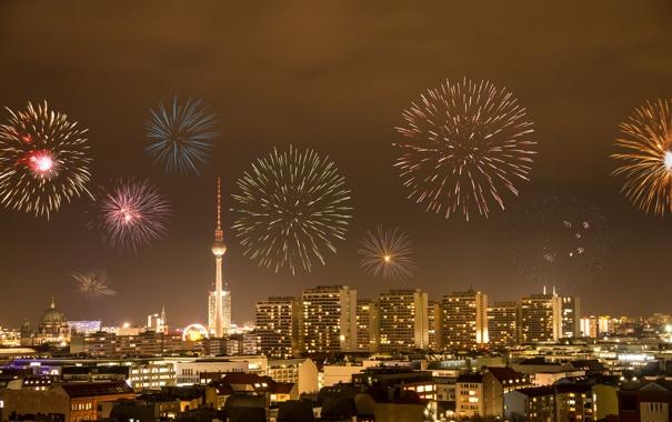 Фото обои city, город, lights, огни, здания, Германия, фейерверки