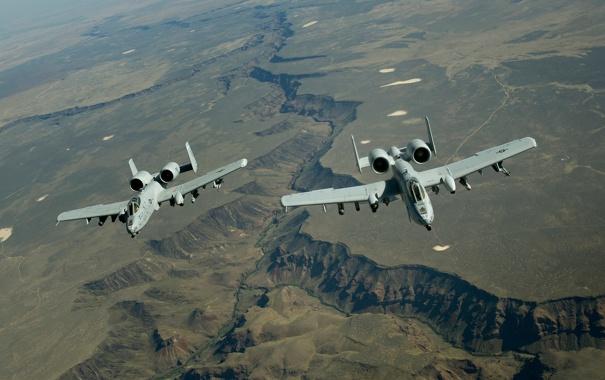 Фото обои ландшафт, пара, A-10, штурмовики, Thunderbolt II, «Тандерболт» II